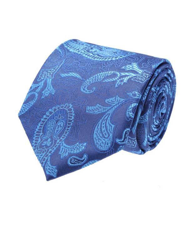 Coolife Blue Micro Fiber Geometrical Necktie For Men