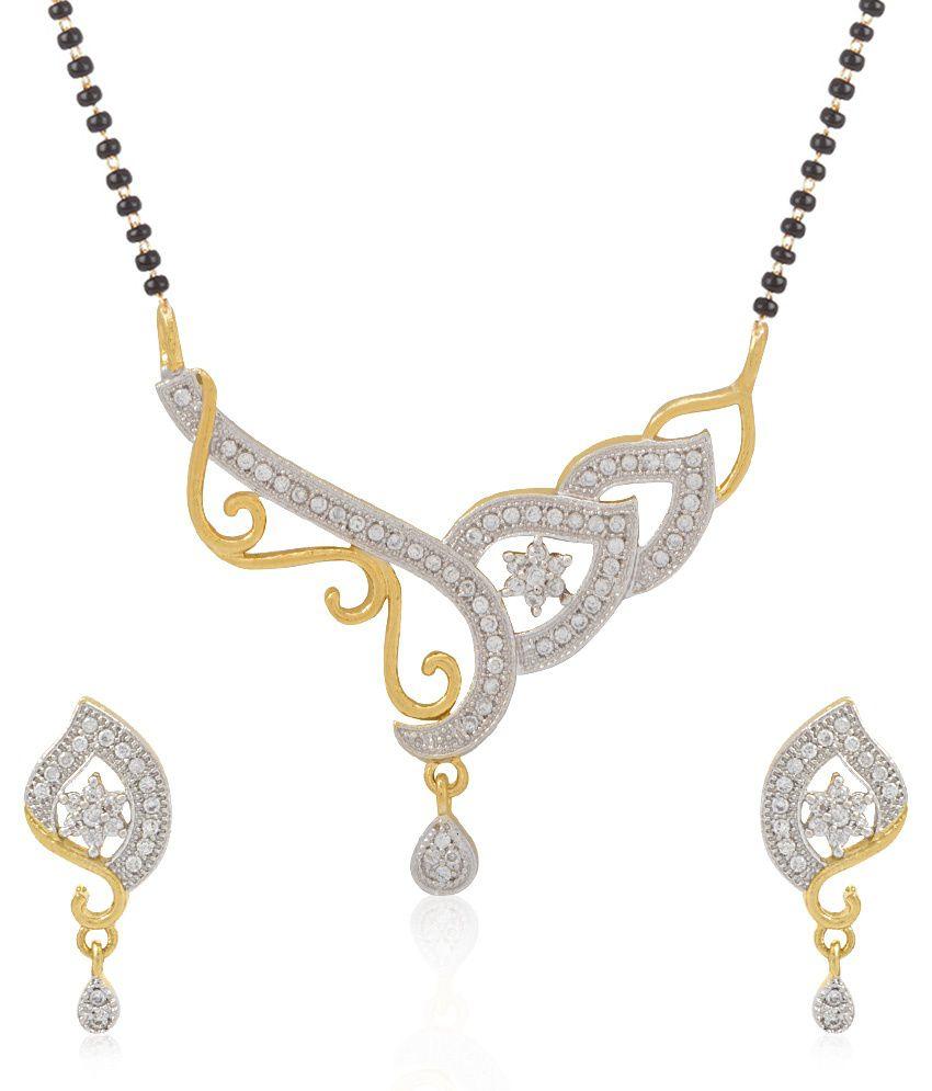 Jewels Galaxy Floral Gold Design Precious American Diamond Mangalsutra Set