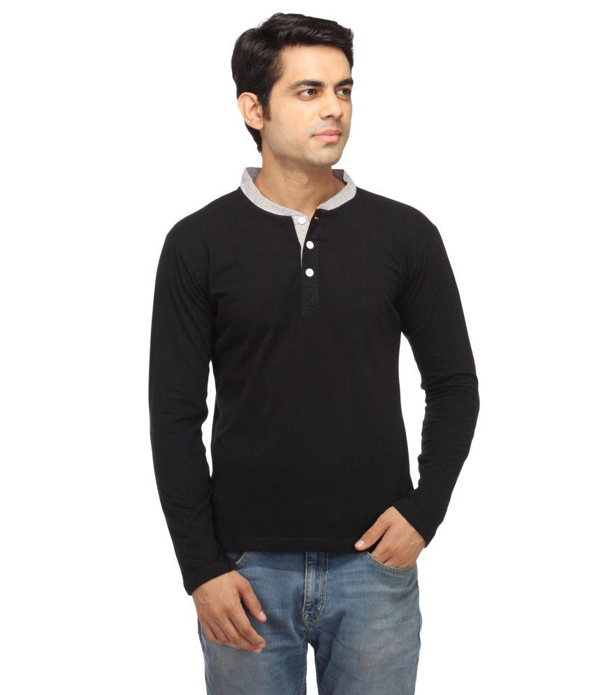 Leana Black Cotton T Shirt