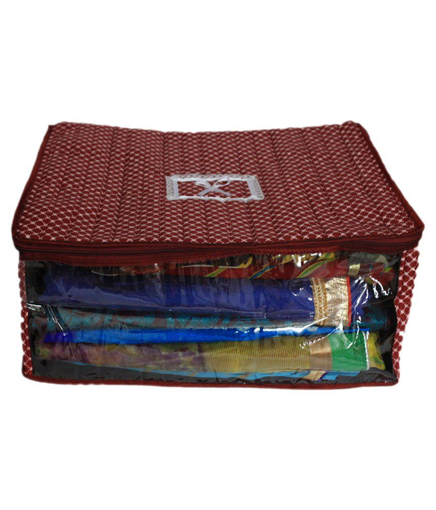 Ombags&more Maroon Cotton Saree Cover (Keep Upto 12 Sarees)