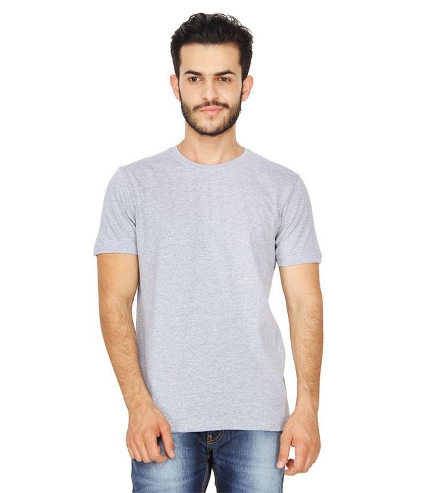 Parshwanath Clothing Company Grey Cotton Round Neck T-shirt
