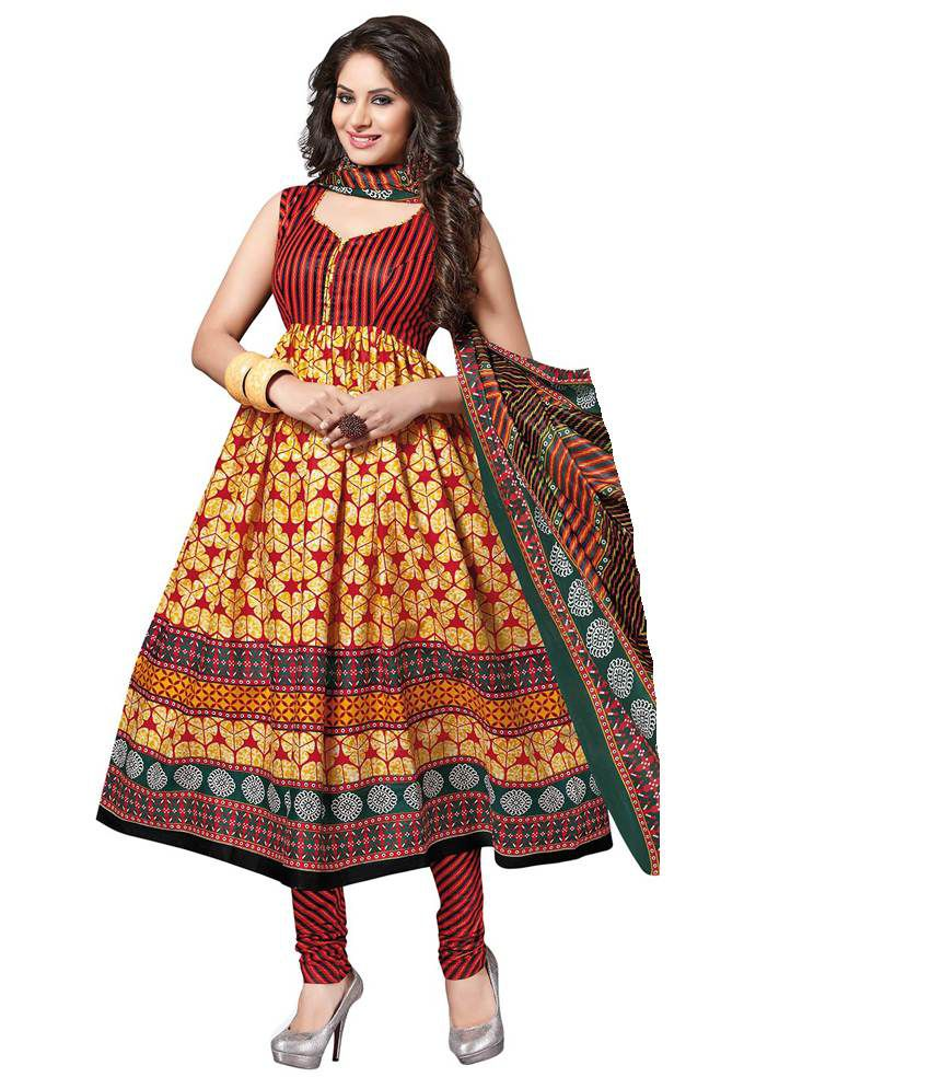 Shyle Multicoloured Cotton Unstitched Dress Material