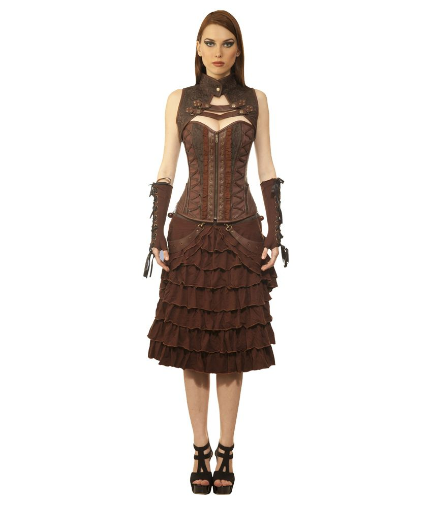 Viona Corset Brown Polyester Dresses