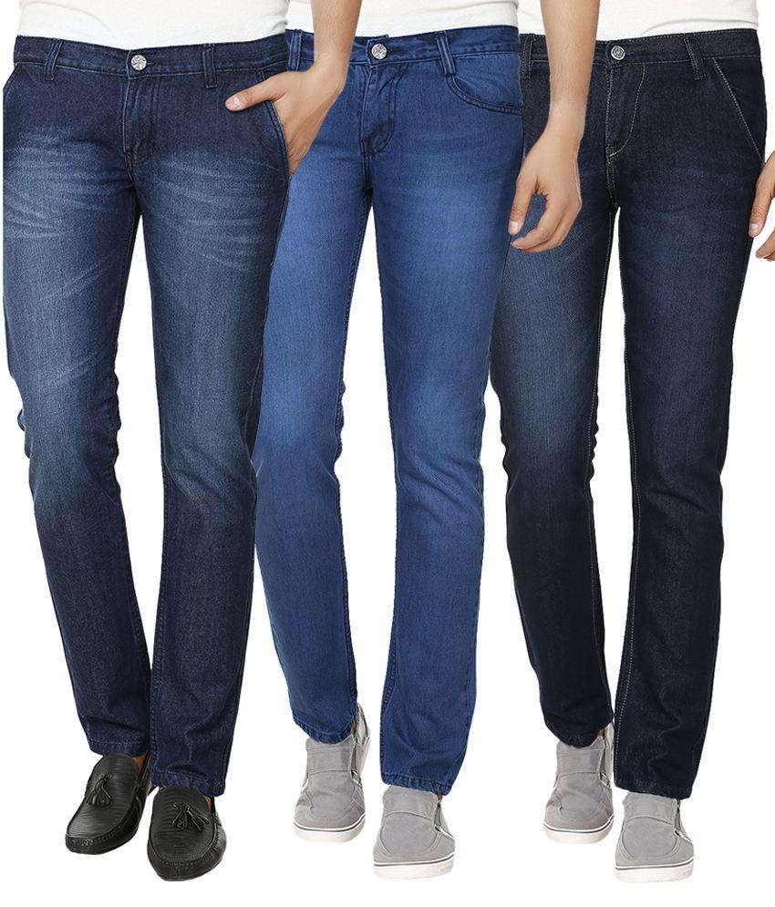 Alan Woods Multicolour Cotton Slim Fit Jeans - Pack Of 3