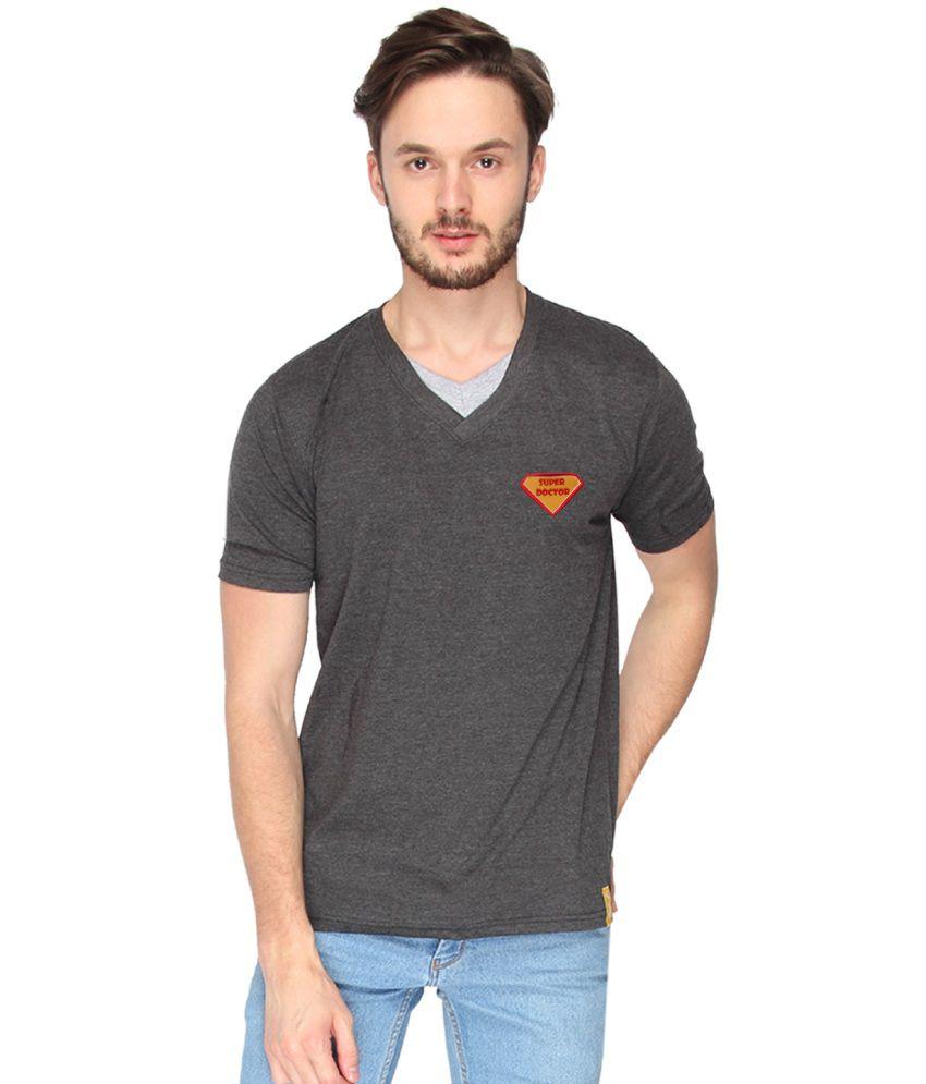 Campus Sutra Grey Cotton T-Shirt