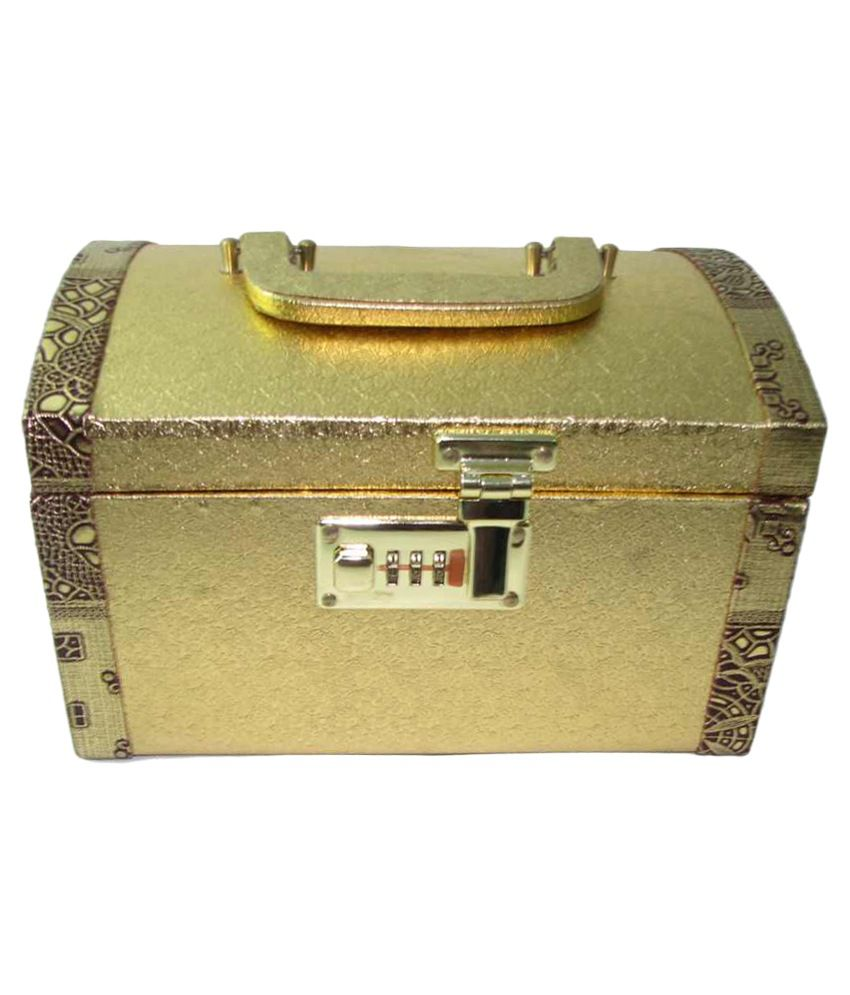 Skyhawk Golden Wooden Designer Jewellery Box