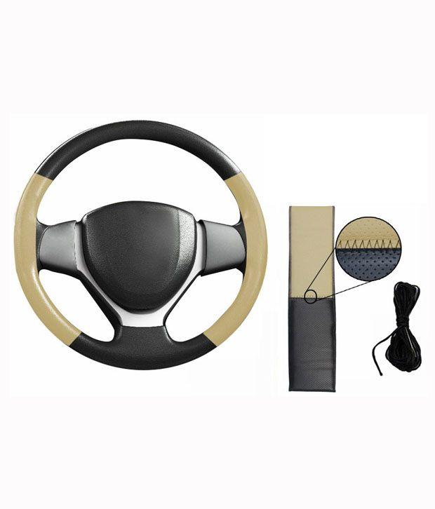 Spedy Black Amp Beige Leatherhette Car Steering Wheel Cover For Maruti Zen Estilo Buy Spedy Black
