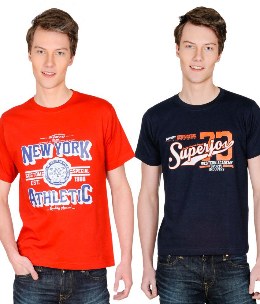 Superjoy Red Polyester T-shirt - Set Of 2