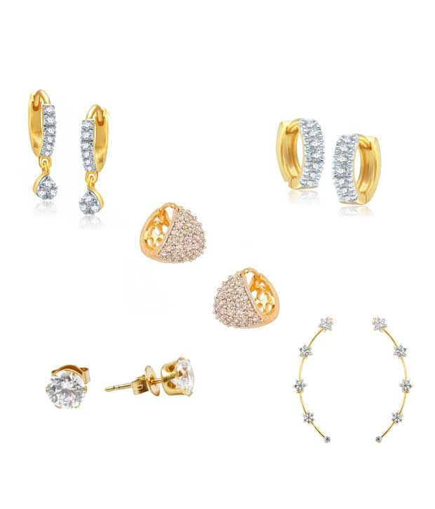 Youbella Gold Style Diva Daily Wear Earrings - Pack Of 5