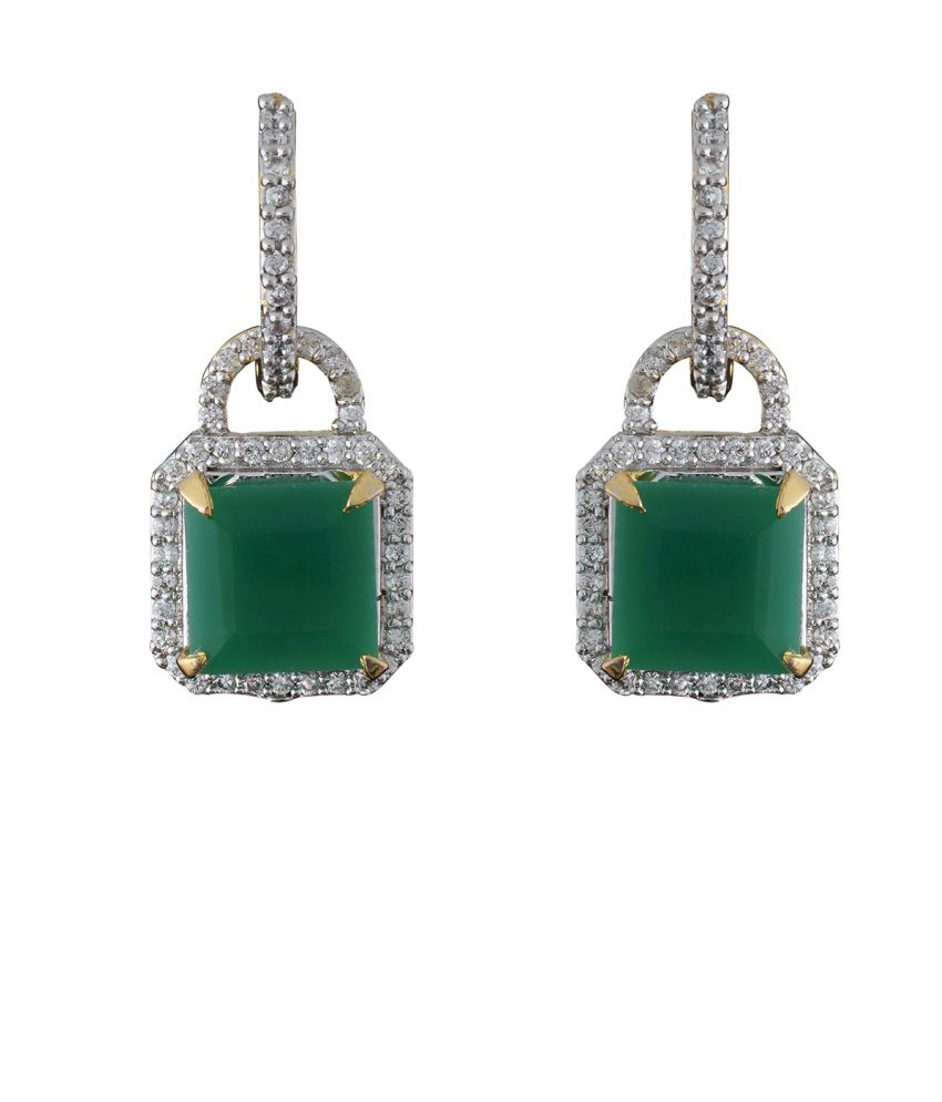 Chaahat Fashion Jewellery Green Copper Drop Earrings