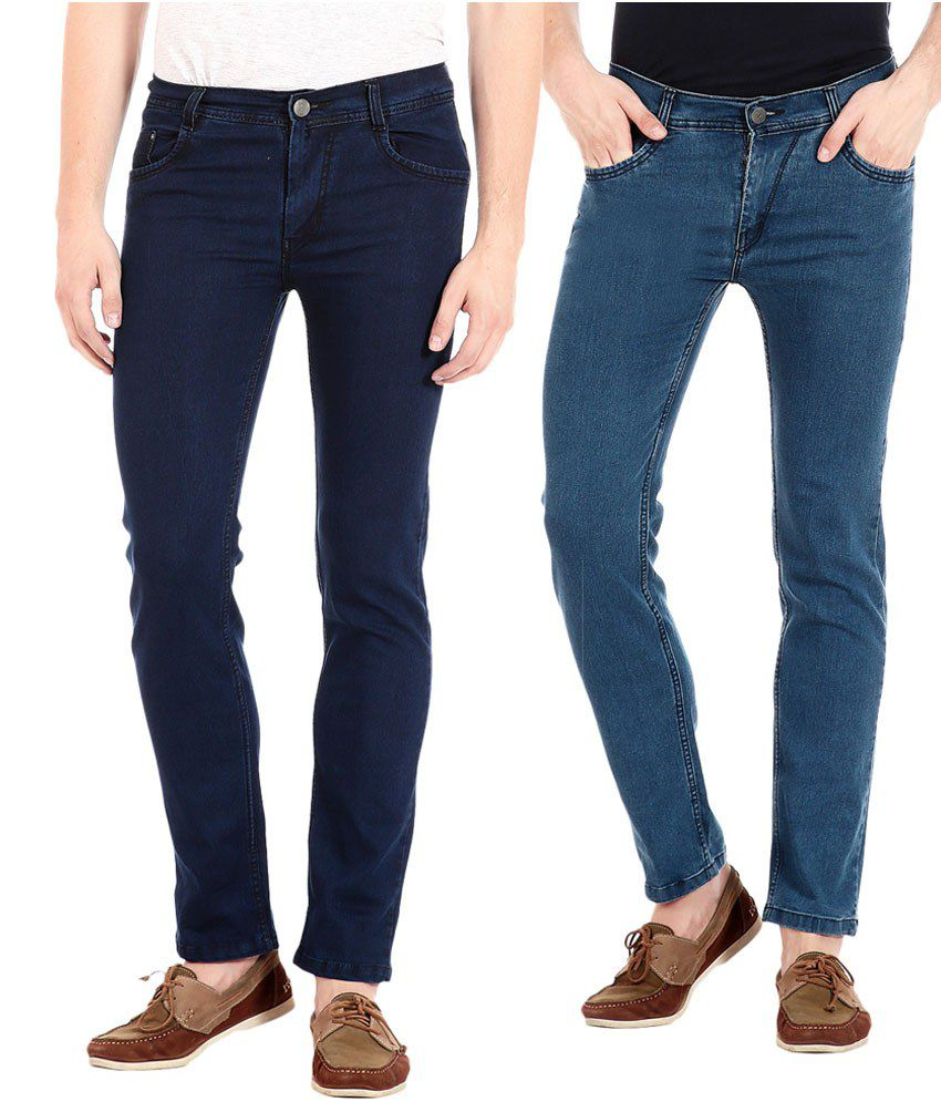 Flyjohn Blue Slim Fit Jeans - Combo of 2