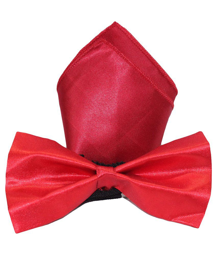 Multibrand Red Pocket Square with Bow