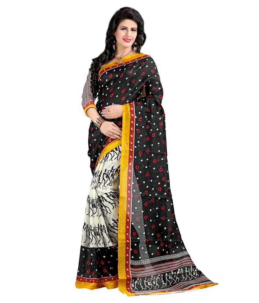 Sonakshi Designer Sarees Black Bhagalpuri Silk Saree