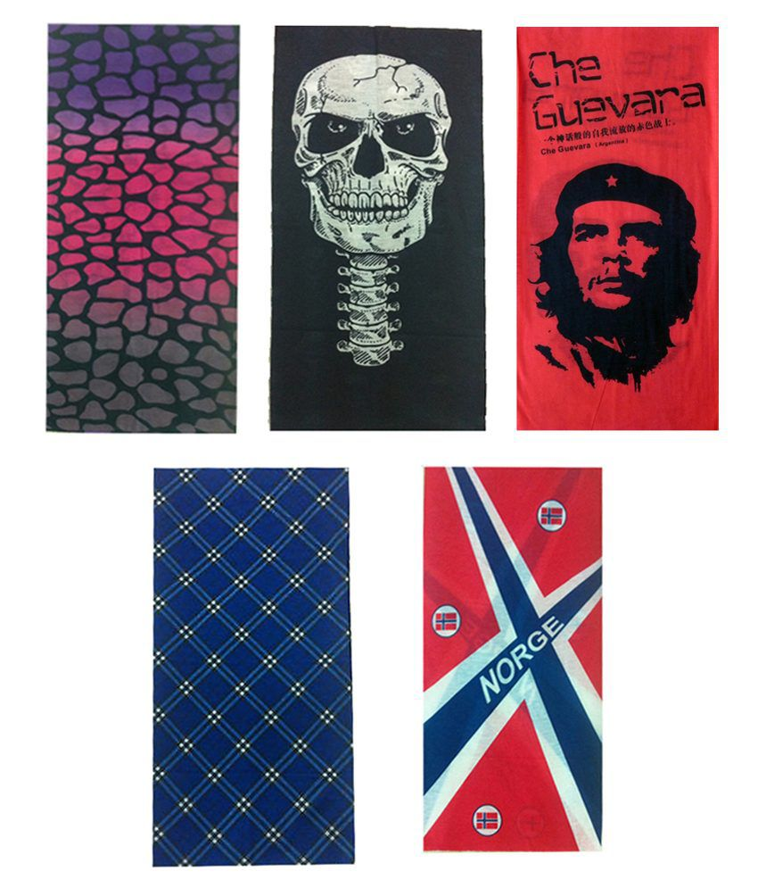 Atyourdoor Multicolor Polyester Bandana for Men - Set of 5