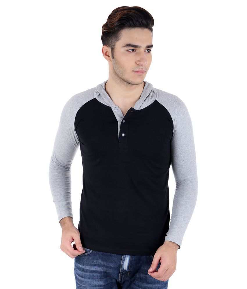 Big Idea Black and Grey Cotton Blend Hooded T-Shirt