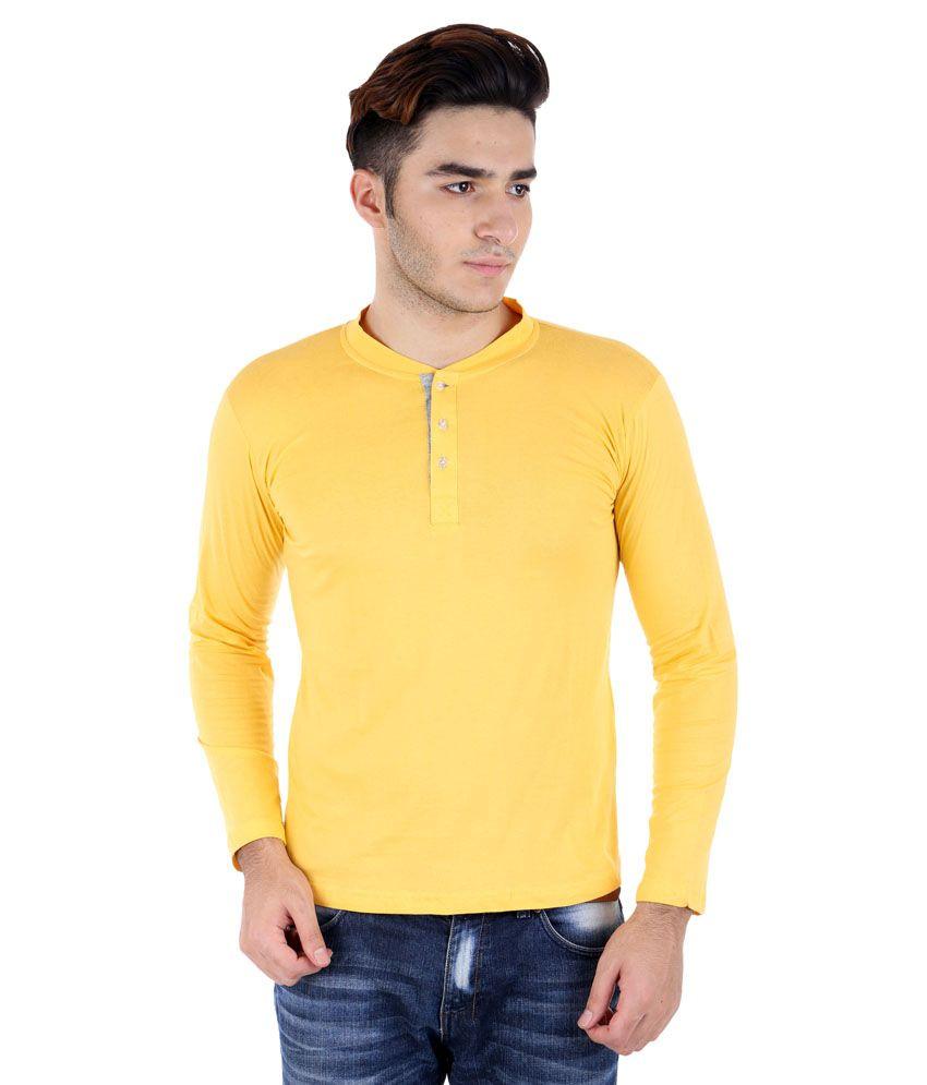 Big Idea Yellow Cotton Blend Henley T-Shirt