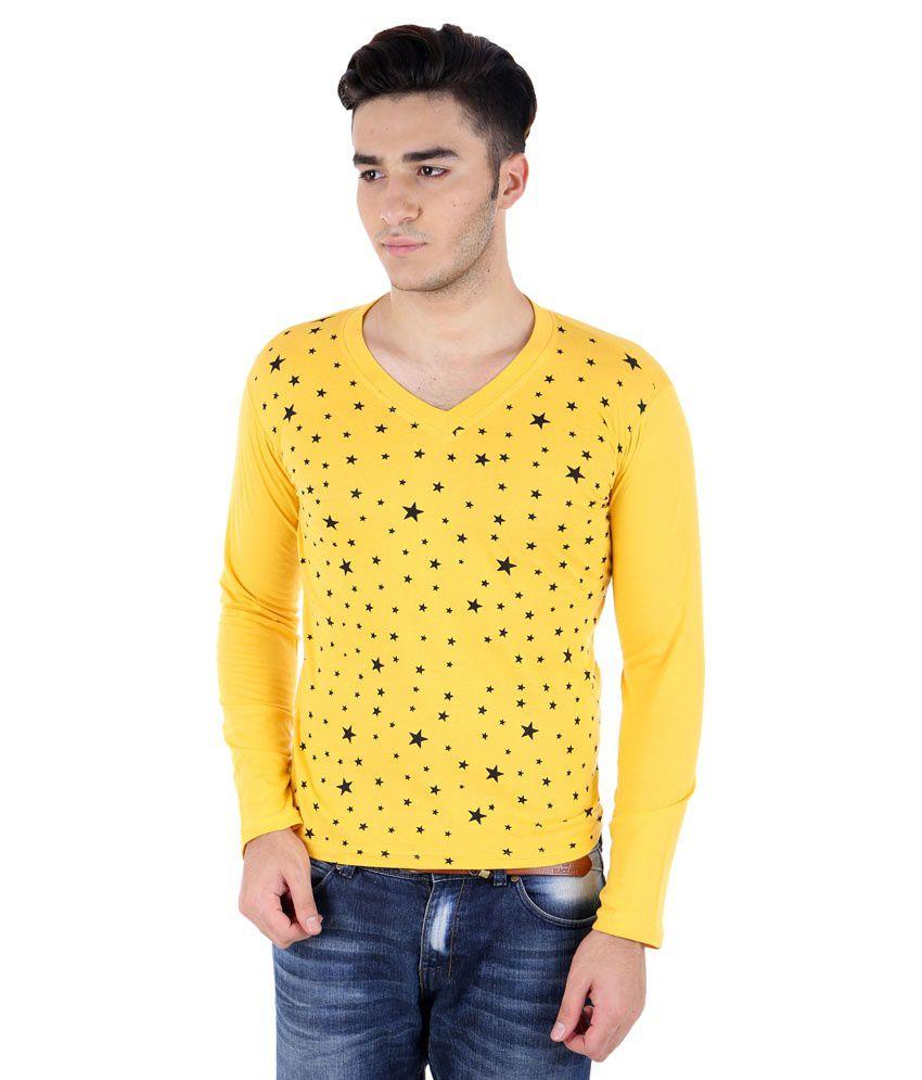 Big Idea Yellow Cotton Blend V-Neck T-Shirt