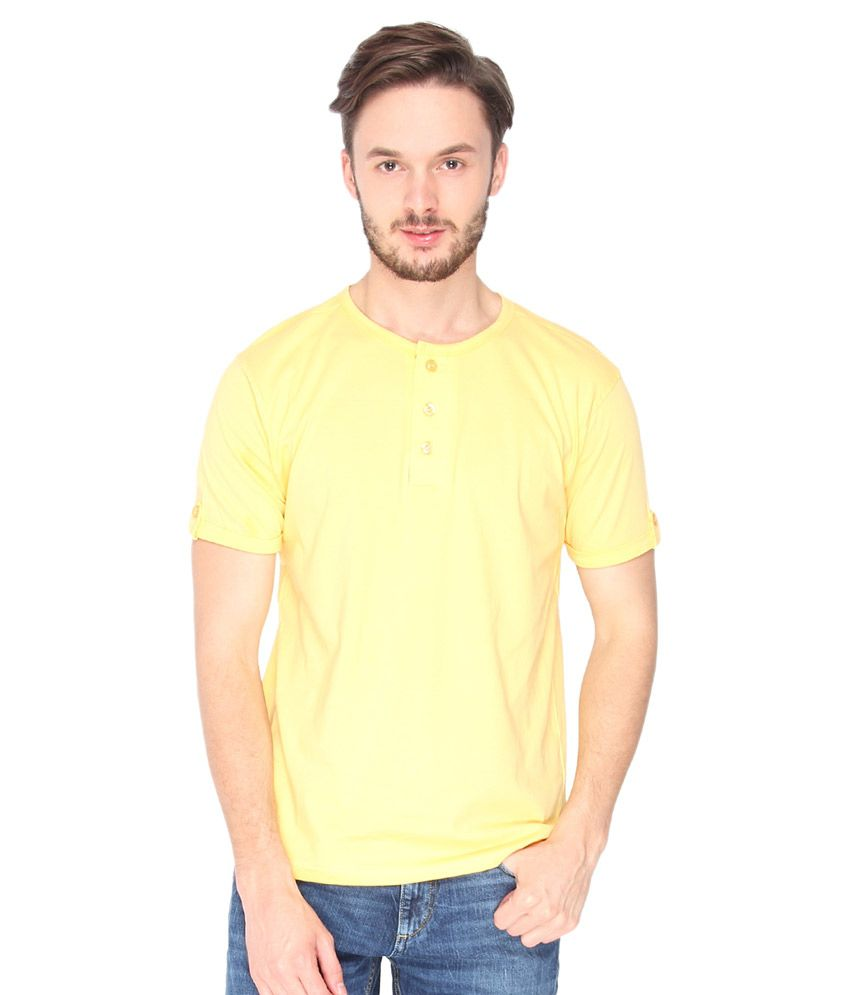Campus Sutra Yellow Henley T-Shirt