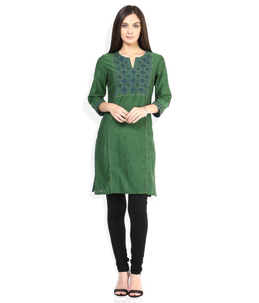 65a21f5b8e Fabindia Green Kurta - Buy Fabindia Green Kurta Online at Best ...