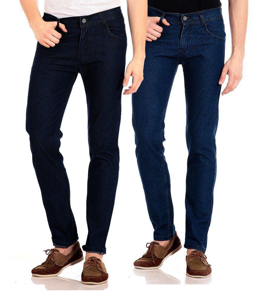 Flyjohn Blue Slim Fit Jeans - Combo Of 2