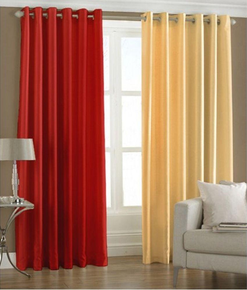 samyak set of 2 door eyelet curtains floral yellow red buy samyak set of 2 door eyelet. Black Bedroom Furniture Sets. Home Design Ideas