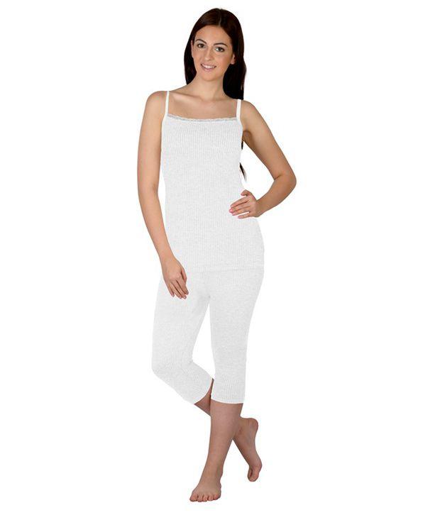 Selfcare White Viscose  Thermal Women's Pyjama & Top Set