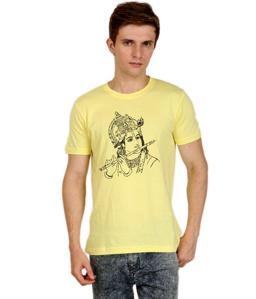 Shopping Monster Yellow Cotton Blend T-Shirt