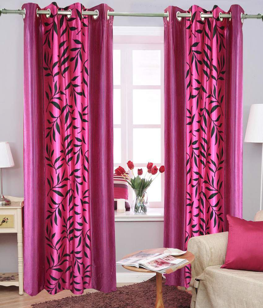 Homefab India Set of 2 Window Eyelet Curtains Floral Pink