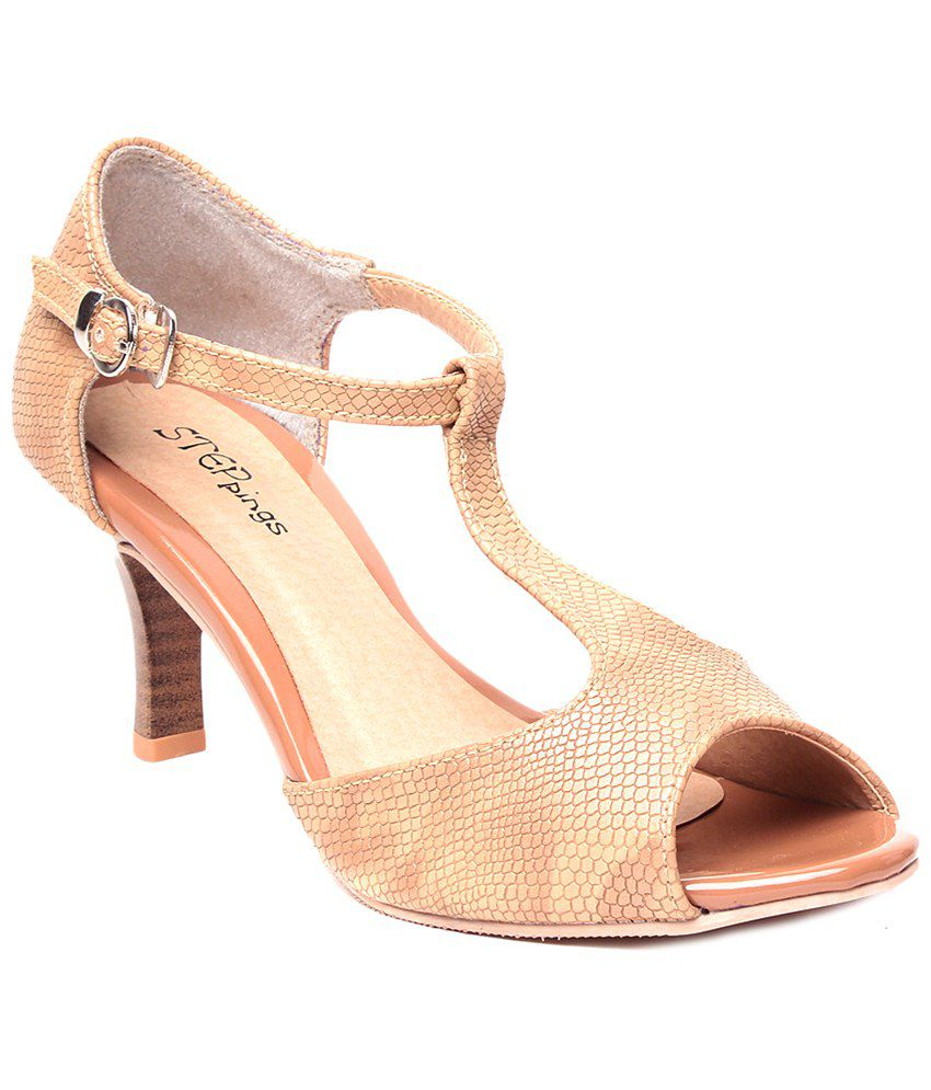 f13cb94b77b1 STEPpings Beige Party Wear Heels Price in India- Buy STEPpings Beige Party  Wear Heels Online at Snapdeal