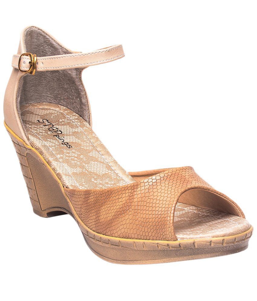 STEPpings Beige Party Wear Wedges Price
