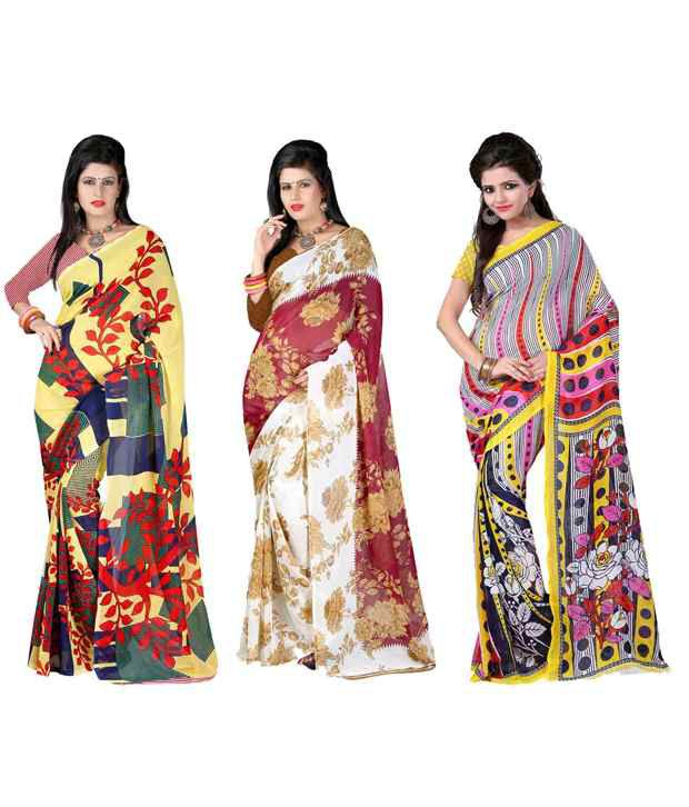 Yashika Multicolour Georgette Pack of 3