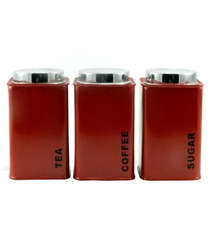 Gaarv Tea, Coffee And Sugar Square Canisters - Set Of 3