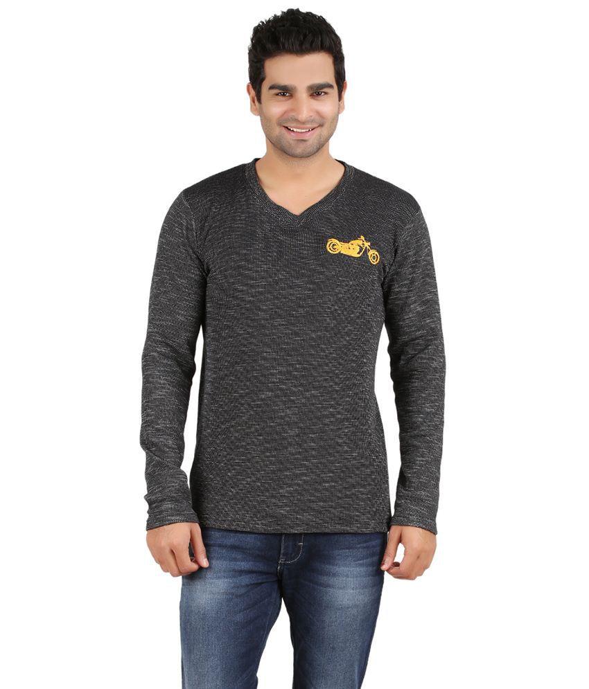 Humtees Black Cotton T Shirt