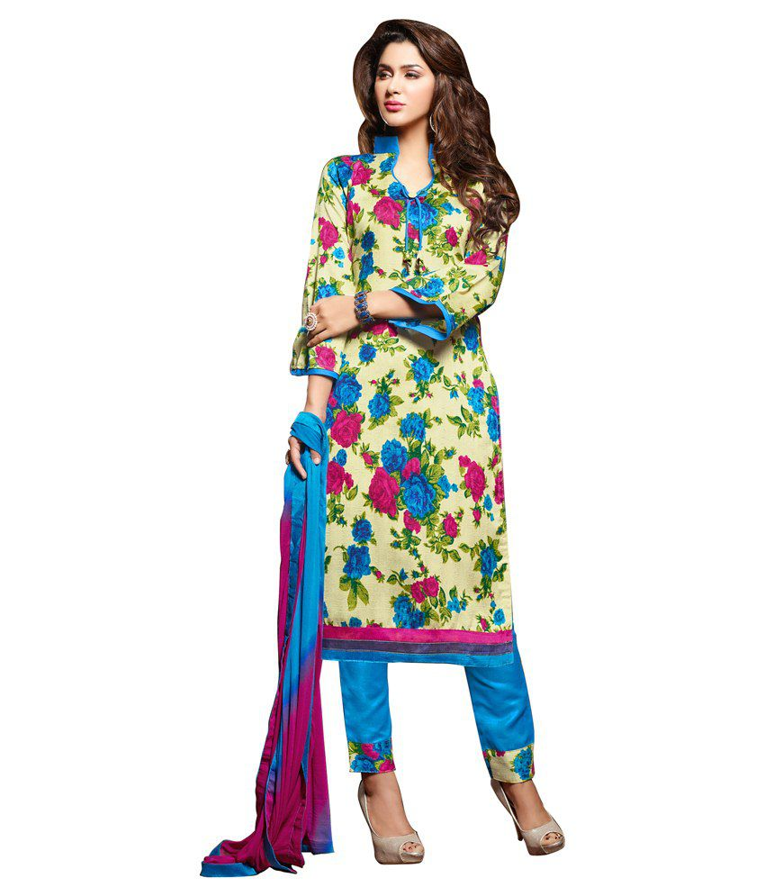 Jiya Multi Color Art Silk Unstitched Dress Material