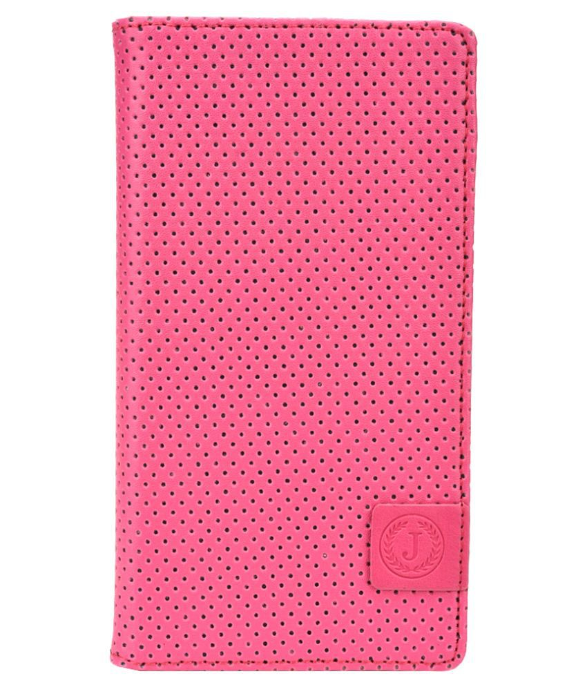 Jo Jo Cover Leather Flip Cover For iball Andi 5k Panther-Pink