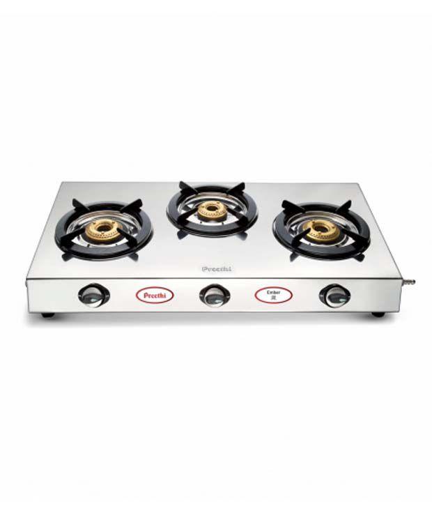 Preethi Ember Stainless Steel Gas Cooktop (3 Burner)