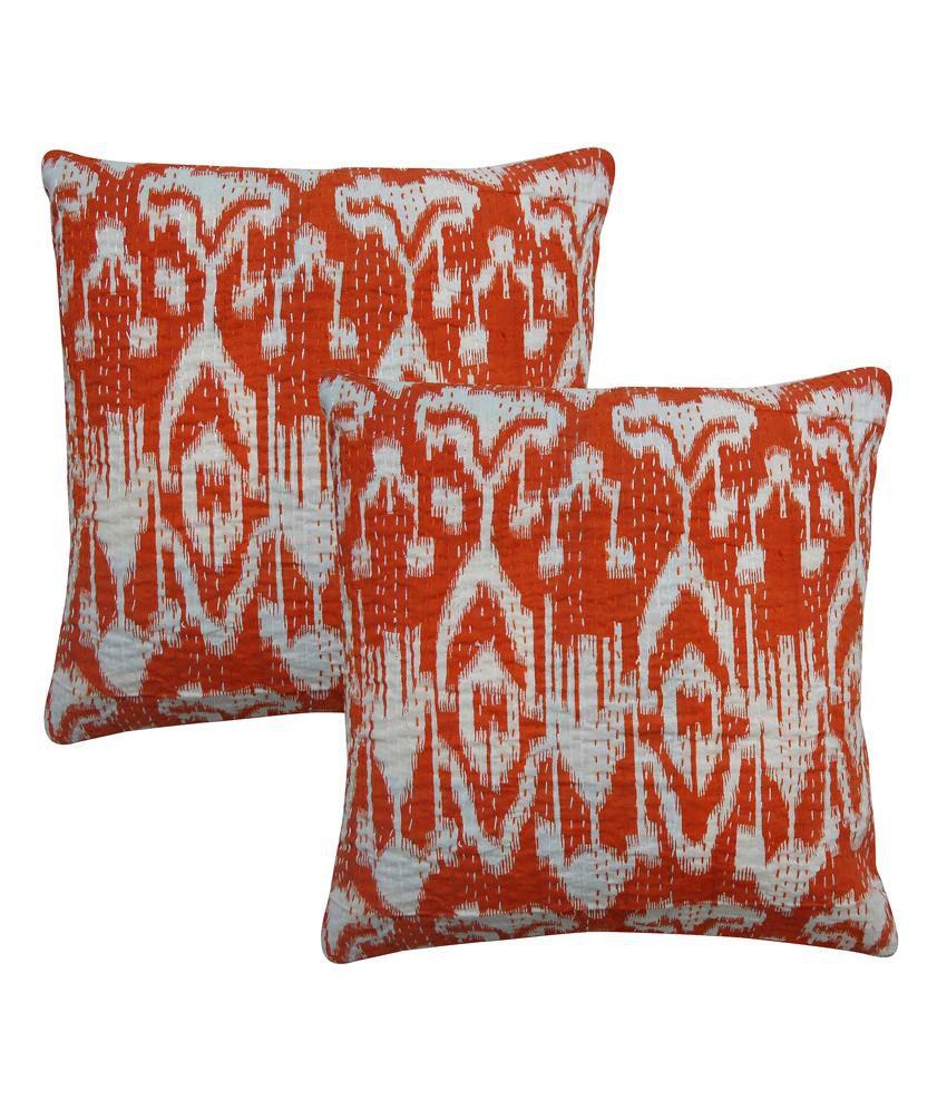Rajcrafts Handmade Ikat Print Kantha Sofa Cushion Cover