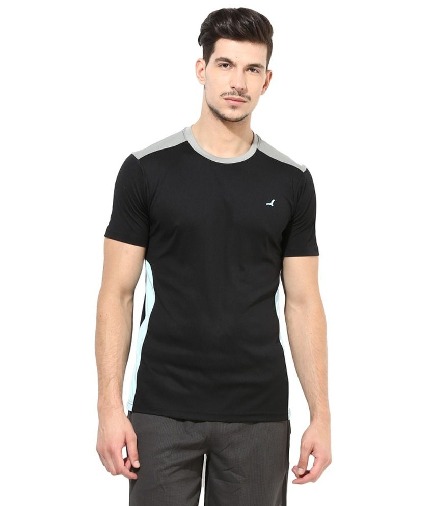 American Crew Black Polyester T-shirt
