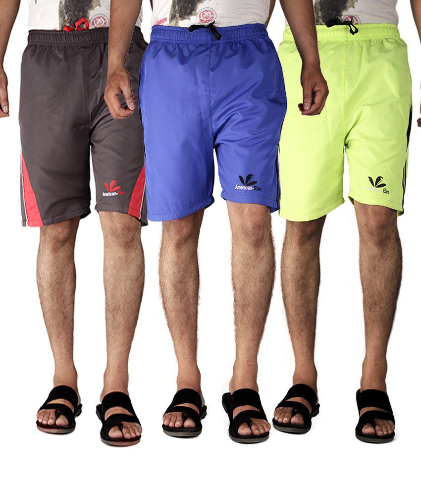 American-elm Multicolor Polyester Solids Shorts - Pack Of 3