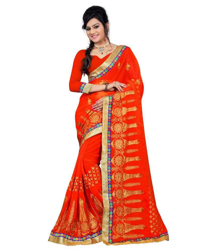 Fashiondeal Orange Faux Chiffon Saree