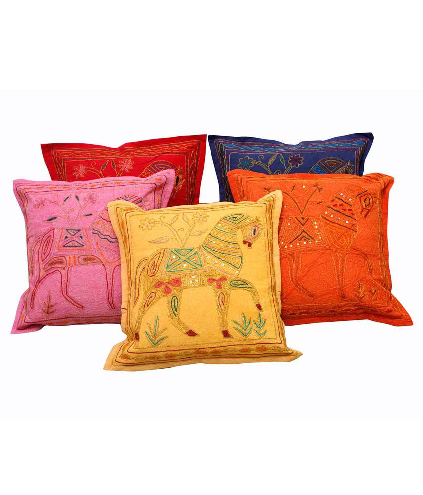 Halowishes Multicolor Cotton Cushion Cover - Set Of 5