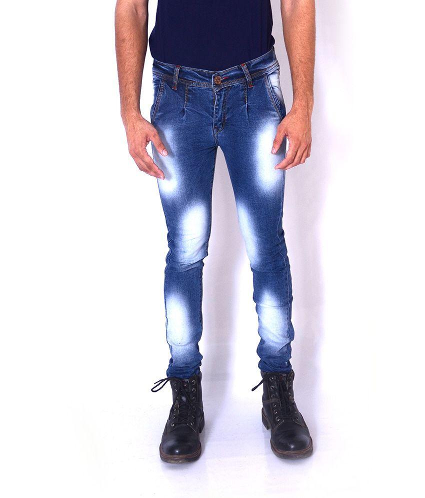 Aeroglide Blue Faded Slim Fit Jeans