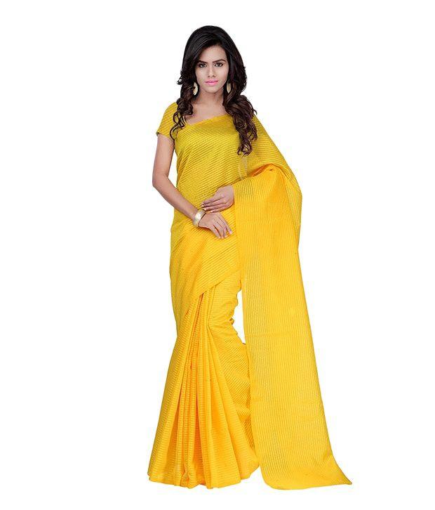 Fabdeal Yellow Net Saree