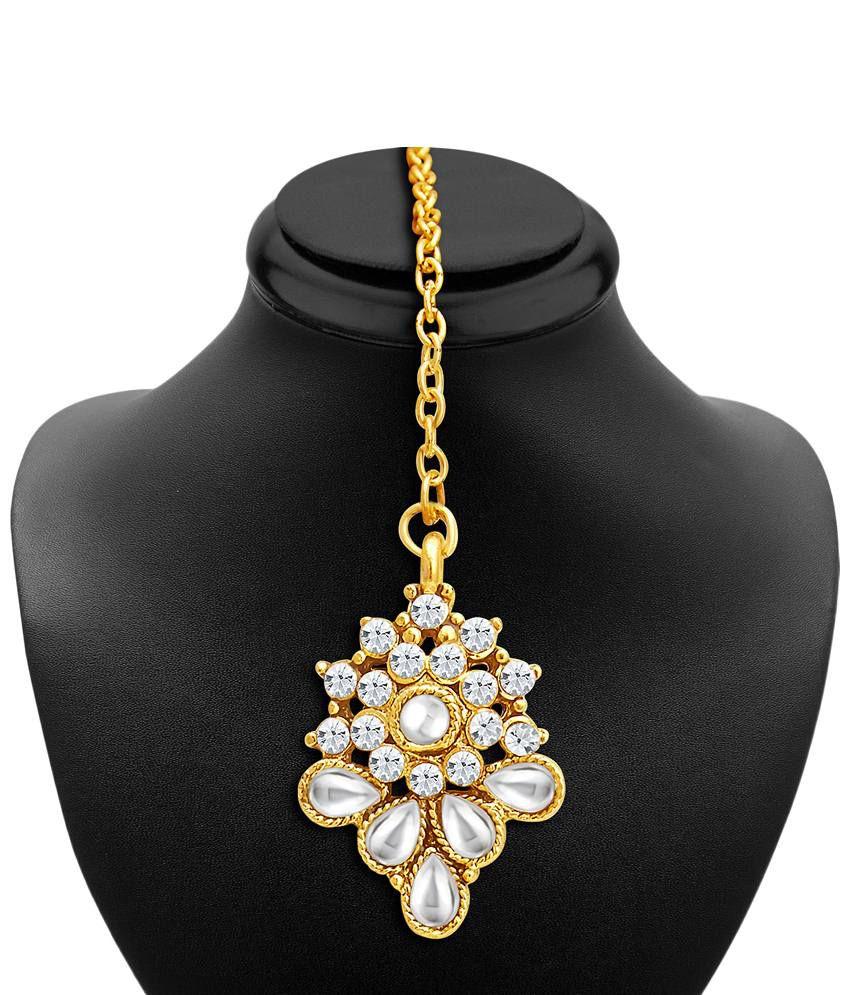 Sukkhi Gold Plated AD Necklace Set with Maang Tika & 5 ...