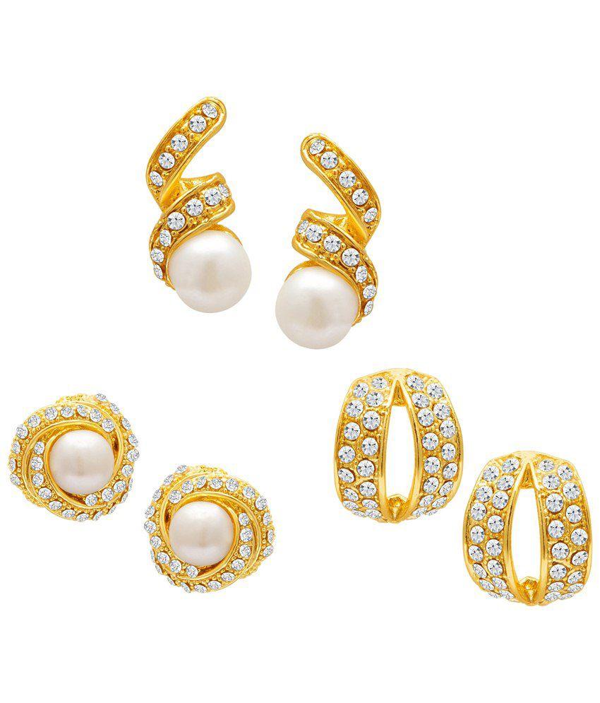 Sukkhi Alloy Gold Plated Australian Diamond Studded Earrings - Set of 3