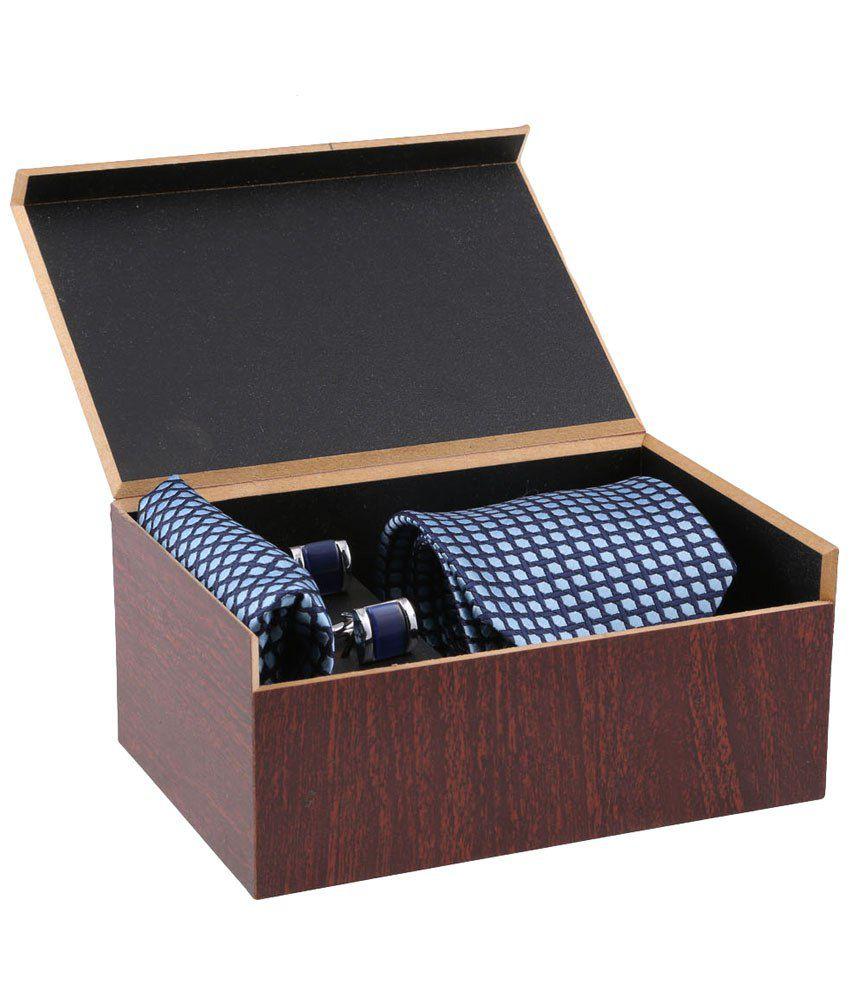 Tossido Set of Blue & Silver Printed Necktie, Cufflinks & Handkerchief