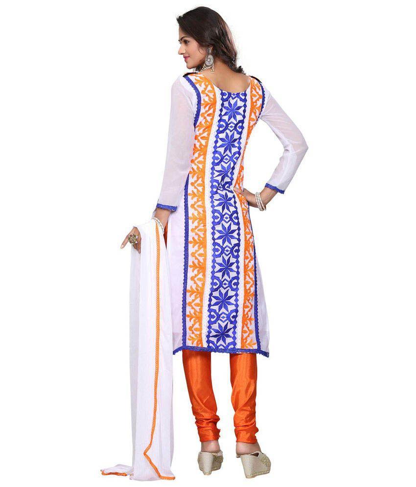 Vivacity Orange and white Georgette Dress Material