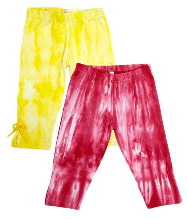 Raine And Jaine Multicolour Cotton Printed Capri Pack Of 2