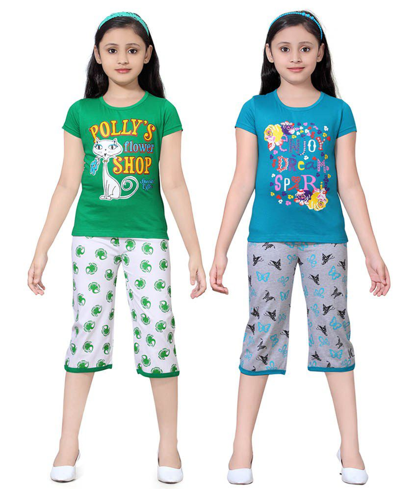 Sini Mini Multicolour Cotton Tops And Shorts Pack Of 2