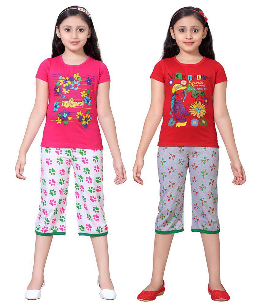 Sini Mini Multicolour Cotton Tops And Shorts Pack Of 2